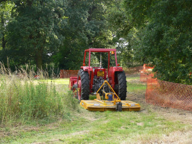 Tractor and mower at Alvecote Wood